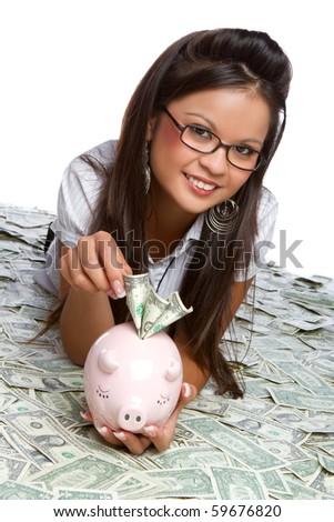 Asian piggy bank money woman - stock photo