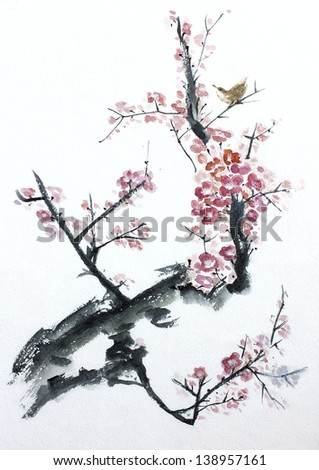asian plum tree blossom watercolor - stock photo