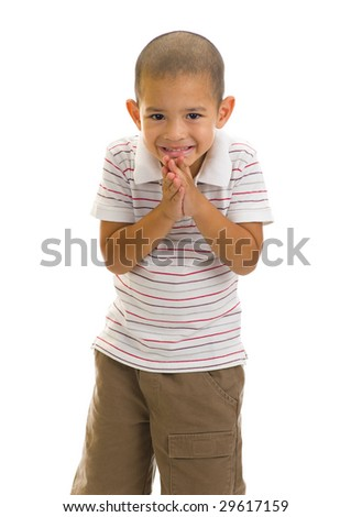 asian preschooler with typical welcome expression - stock photo