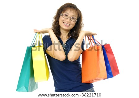 Asian pretty girl with shopping bag