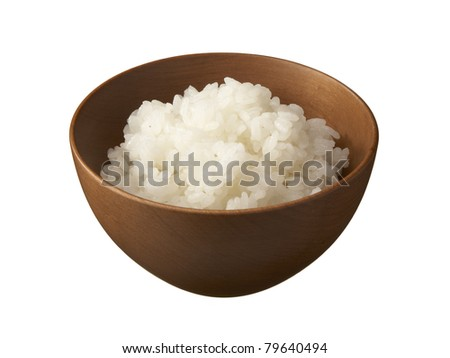 Asian rice bowl isolated. - stock photo