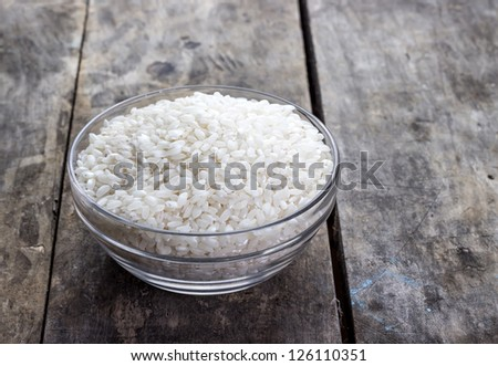 Asian rice bowl on the table. - stock photo