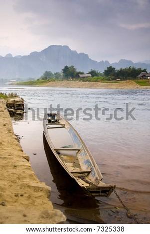 Asian River & Boat - stock photo