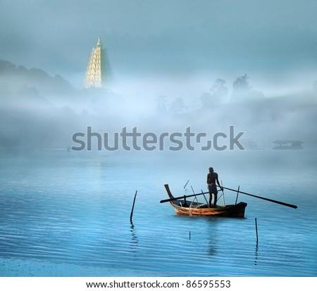 asian river life (Retouching Style) - stock photo