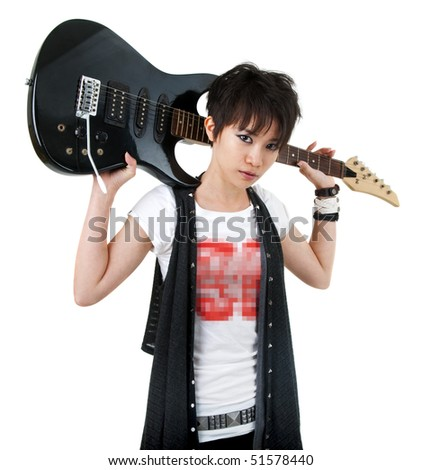 Asian rockstar with guitar isolated on white - stock photo