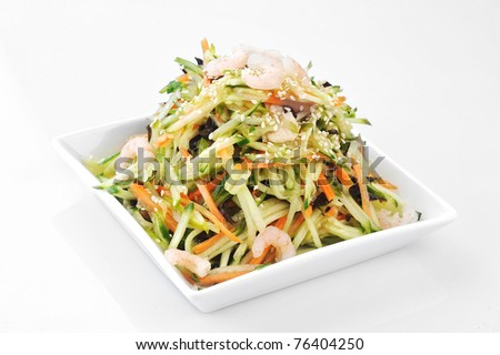 asian salad served on plate isolated - stock photo