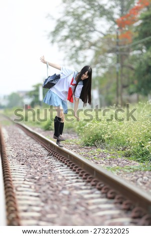 Asian school girl  - stock photo