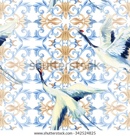 Asian seamless pattern. Watercolor crane bird seamless pattern. Hand painted illustrations on white background - stock photo