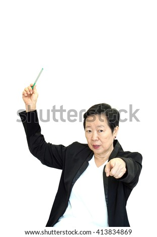 Asian senior business woman upset and unhappy pointing and explaining to camera