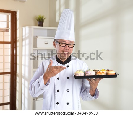 asian senior chef - stock photo