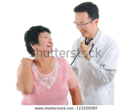 asian senior female medical checkup with doctor