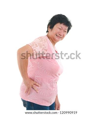 asian senior lady backpain in agony - stock photo