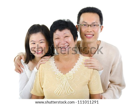 Asian senior mother and adult offspring over white background - stock photo