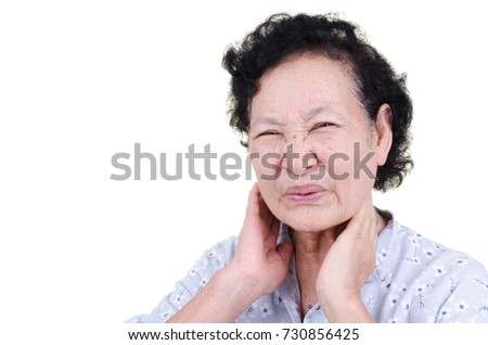 Asian Senior woman sore throat expression over white background