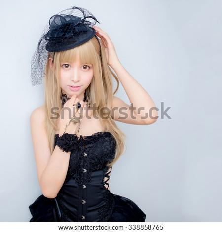 asian sexy fashion girl lady japanese style - stock photo
