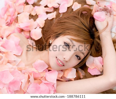 Asian sexy Girl in flower - stock photo