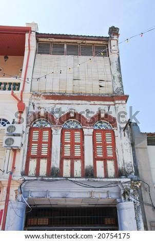 asian shophouse fronts - stock photo