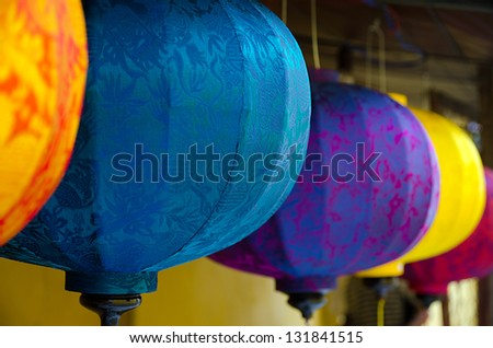Asian silk lanterns - stock photo