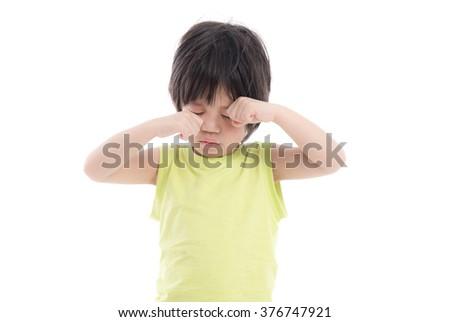 Asian  sleepy child on white background isolated - stock photo