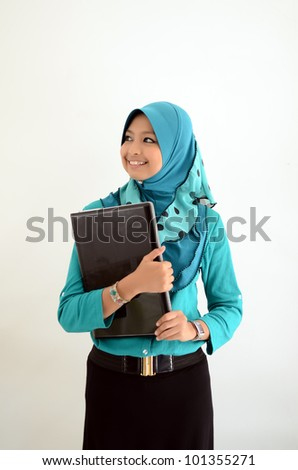 asian smiling business woman working with laptop - stock photo