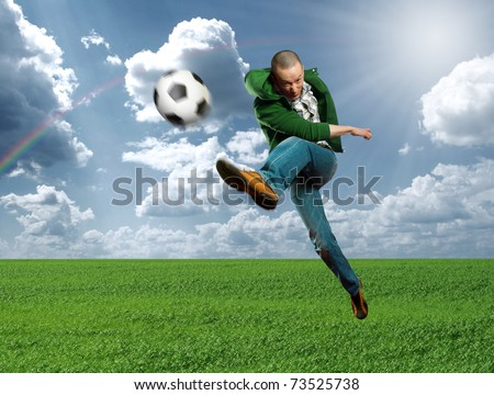 asian soccer player on training outdoors, kick the soccer ball