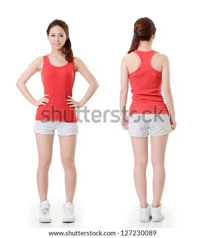 Asian sport girl, full length portrait isolated on white background. - stock photo