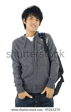 Asian student carrying bag and books