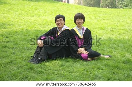 Asian student couple - stock photo