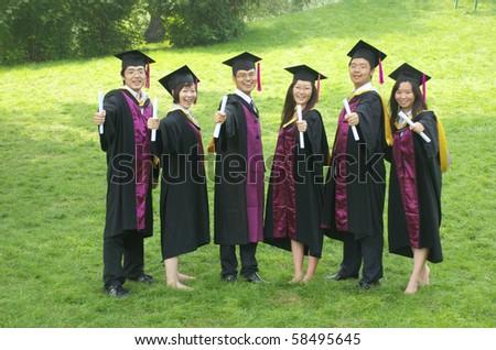 Asian student graduation - stock photo