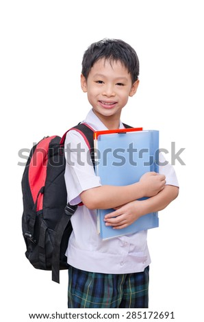 Asian student in uniform isolated on white background - stock photo