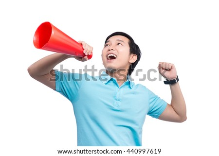 Asian Student Shouting In Megaphone Over White Background - stock photo