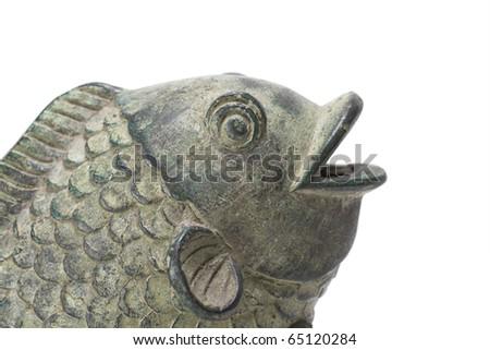 Asian style metal ornamental koi fish on a white background - stock photo