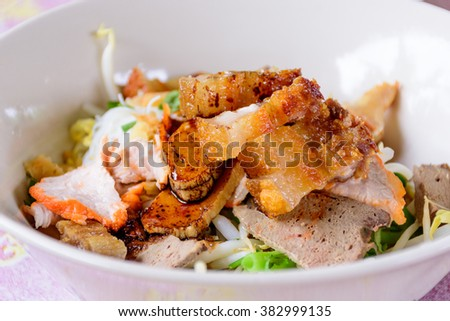 Asian style of noodles in bowl