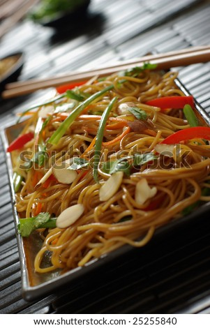 Asian style stir-fried noodles with vegetables.