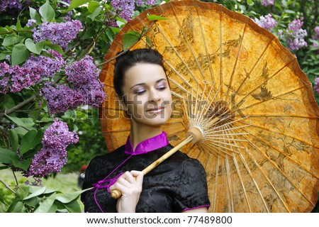 asian style woman in lilac