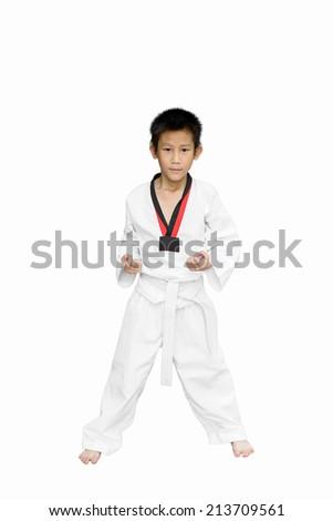 Asian taekwondo boy isolated on white. - stock photo