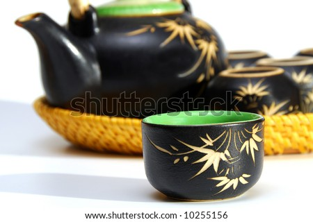 asian tea set - stock photo