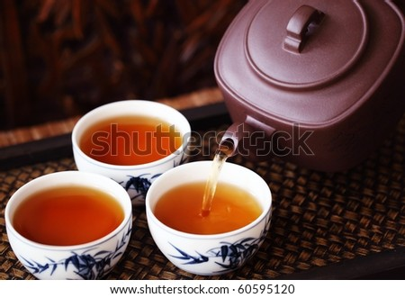 Asian tea set on bamboo mat,Closeup. - stock photo