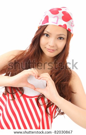 Asian teen makes the heart