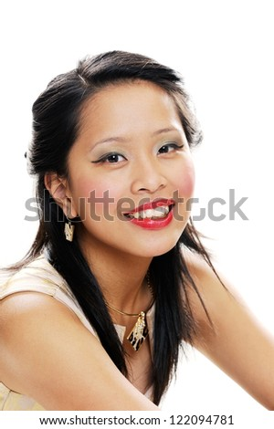 Asian teenage girl looking happy posing - stock photo
