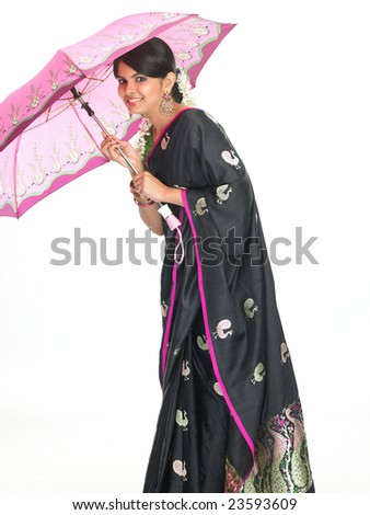 asian teenage girl with the pink umbrella - stock photo