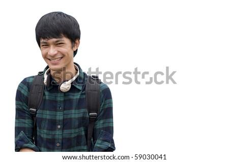Asian teenage student holding books isolated on white - stock photo
