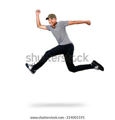 Asian teenager jumping, Isolated over white - stock photo