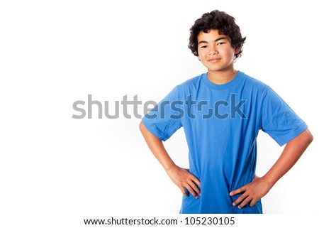 Asian Teenager thinking isolated on white for copy space - stock photo
