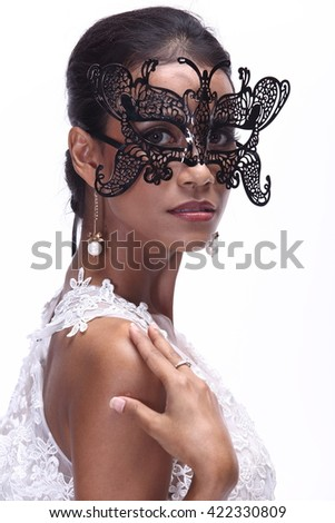 Asian Thai India Female Woman Model Tan Skin in Lace See Through White Wedding Dress with Fur Tiara, Fashion Make Up, Studio Lighting on White Background wearing Black Mask - stock photo