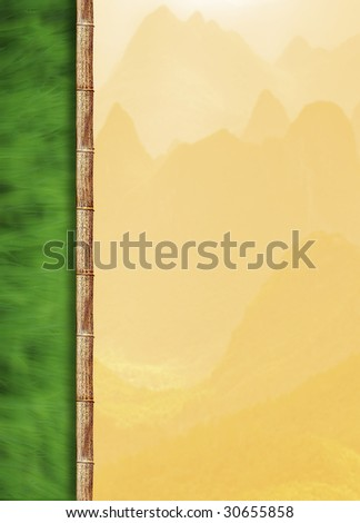Asian themed background of bamboo, hills and grass suitable for presentation, menu use etc. Room to drop in text