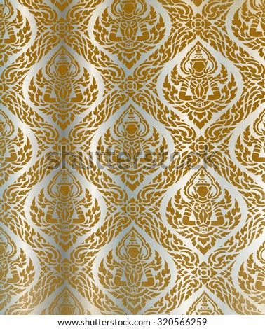 Asian traditional art Design, Thai traditional design, thai  style background. border thai pattern with thai pattern background. illustration grow silver brown background.