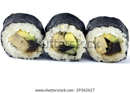 asian traditional food with raw fish with seaweed