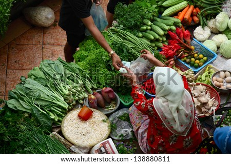 Asian traditional vegetable market - stock photo