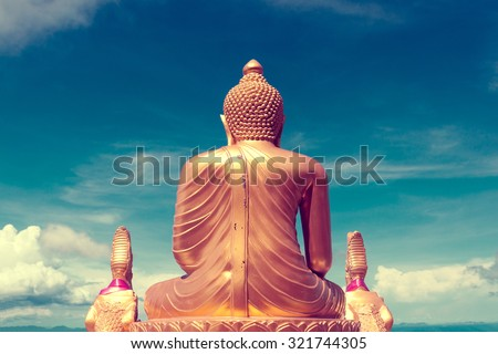 Asian trip. Buddha statue and landmarks.Exotic travels and adventures .Thailand trip.Buddha and landmarks - stock photo